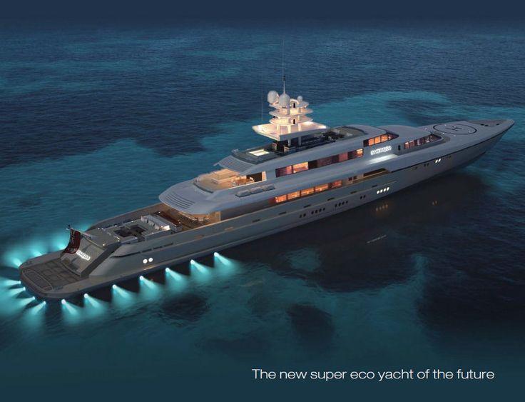 luxury motor yacht Smeralda by night