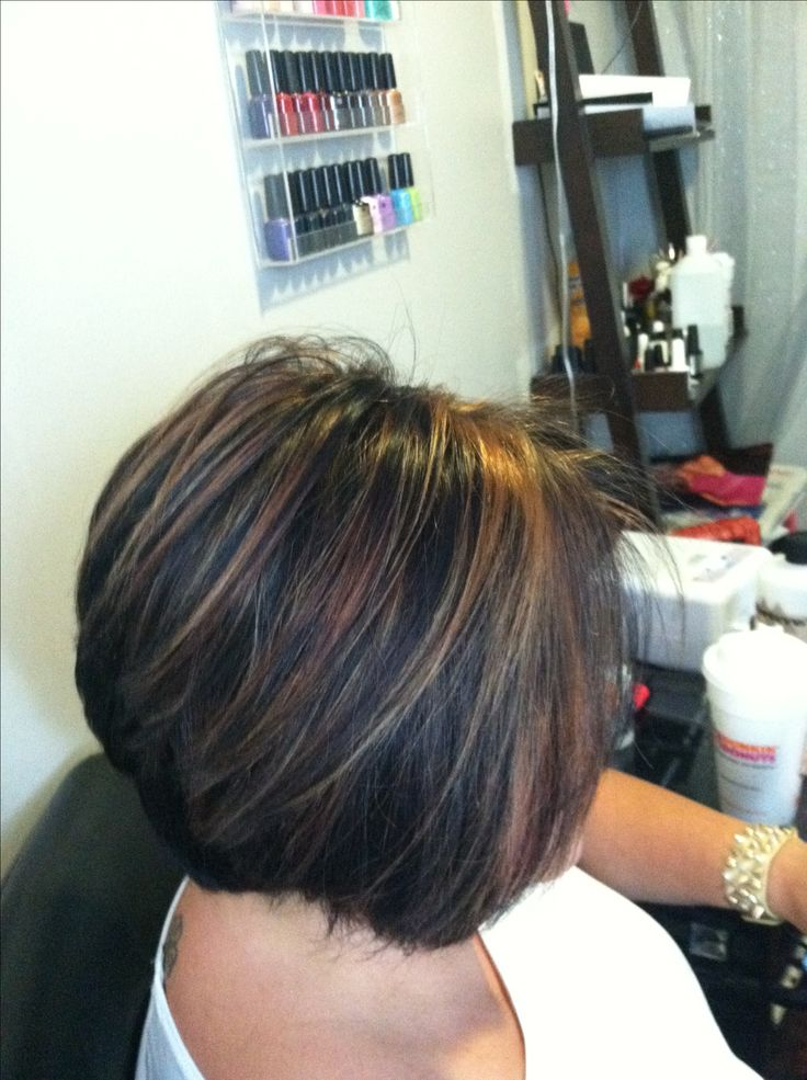 Chunky Caramel Highlights In Dark Hair Short Stacked