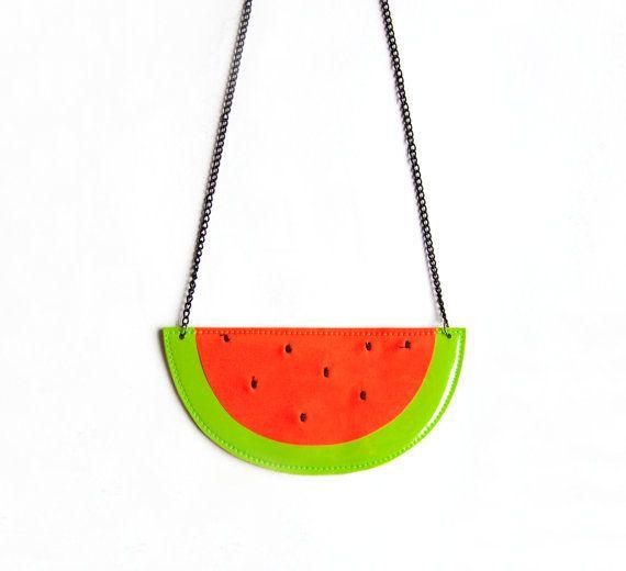 Watermelon faux leather neon fruit necklace by pleasureispretty, $17.00