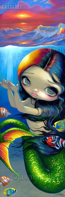 Big Eyed Mermaid - Reaching for Sunset by Jasmine Becket-Griffith. Have this in my daughters room.