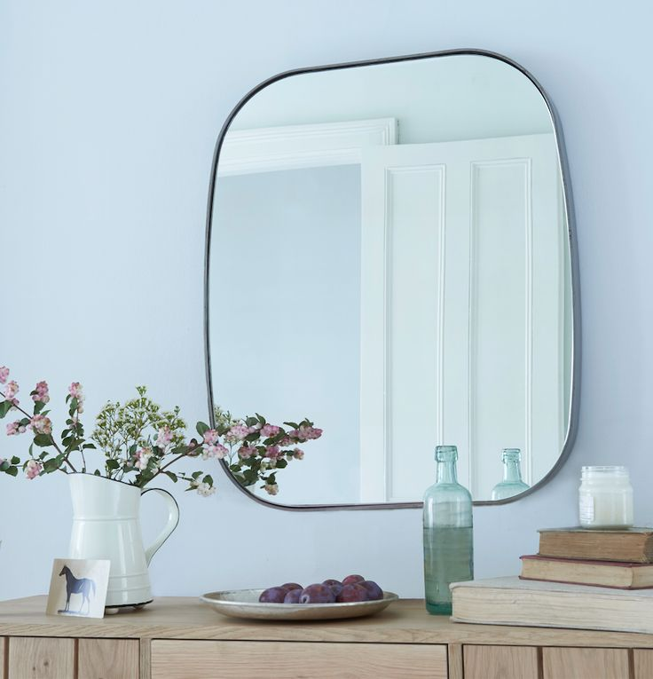 Loaf's steel framed Albie mirror with pink blooms