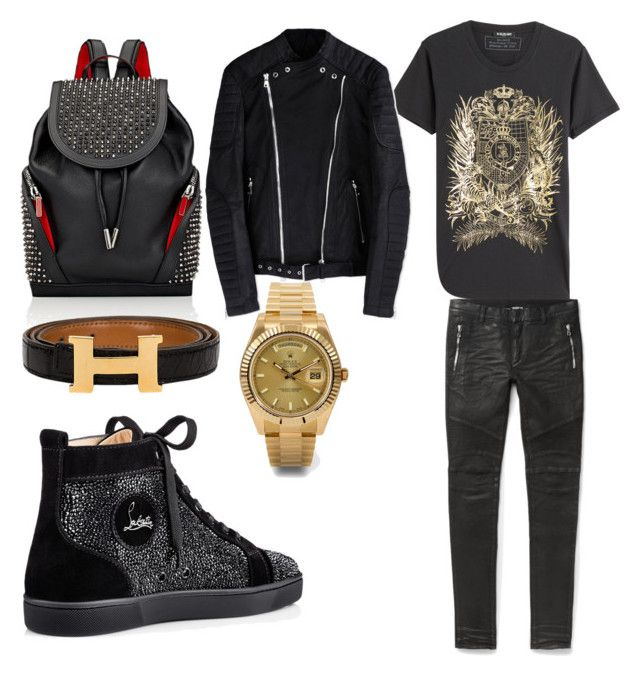 Untitled #90 by losdollas on Polyvore featuring polyvore, Balmain, Christian Louboutin, Rolex, men's fashion, menswear and clothing