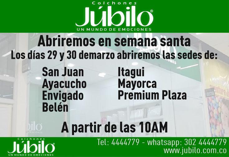 Abriremos en semana santa los días 29 y 30 de marzo abriremos las sedes San Juan, Ayacucho, Envigado, Belén, Itagui, Mayorca y Premium Plaza. A partir de las 10AM. Tel 034 4444779 whatsapp 3024444779 - http://goo.gl/aLGgid