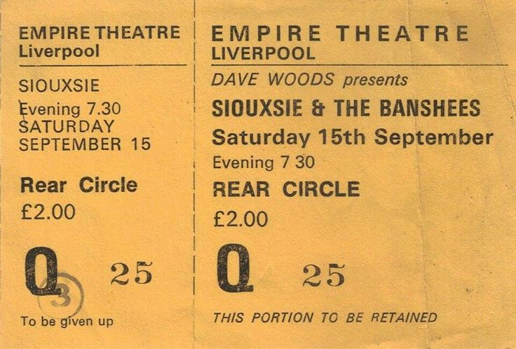 Siouxsie and the Banshees at Liverpool Empire Theatre.