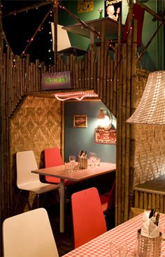 Kontiki - We are Gothenburg's first and only tiki bar and restaurant, decorated with over 3 km of bamboo, colorful lights, theme tables and cozy crawl into.