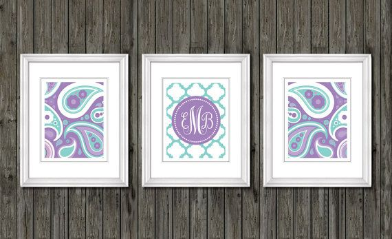 Paisley bedroom decor, nursery art for girls, monogram nursery print for girls, purple and aqua blue print, girls playroom, paisley nursery
