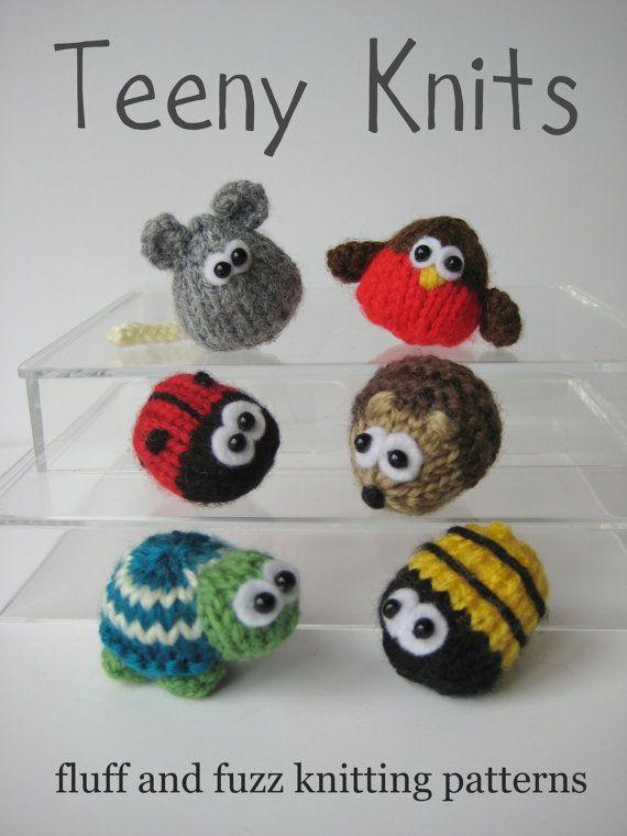Teeny animal knitting patterns six quick to knit by fluffandfuzz
