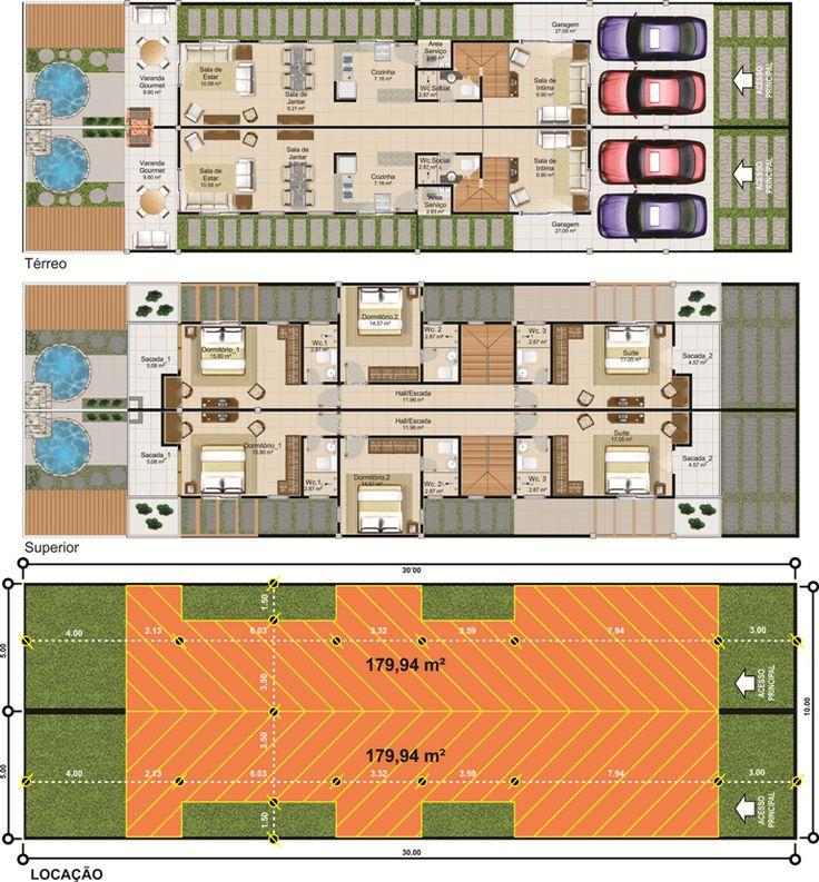 ProjetarCasas: Planta de Casas | Planta de sobrado geminado, 5m de frente, 3 quartos e varanda gourmet. - Cód 35