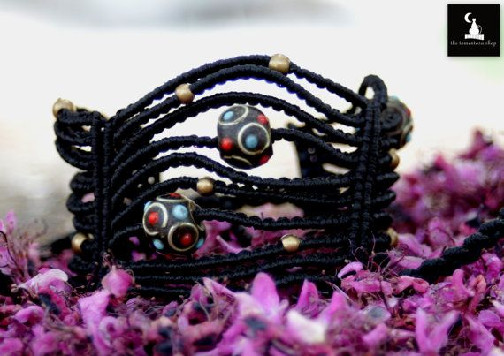 Check out this item in my Etsy shop https://www.etsy.com/listing/233127855/black-macrame-bracelet-with-brass-and