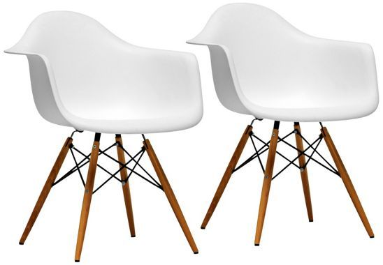 Set of 2 pascal white plastic side chairs our home for White plastic kitchen chairs