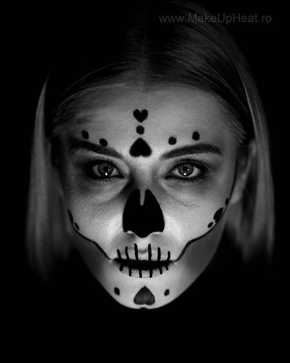 Happy Halloween!   Model: Isabela Dinu @micsedpincs Photo: Alex Lungu @alexlungu1 Makeup: Alina Anton for MakeUp Heat | www.MakeUpHeat.ro  #happy #halloween #trickortreat #ghost and #pumpkin #skull #blackandwhite #black #hearts #blonde #beautiful #makeupheat #mymakeup #makeupoftheday