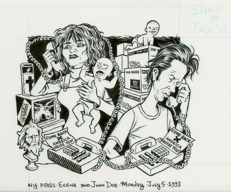 "dannyhellman: "" FROM THE FLAT FILES: Exene Cervenka & John Doe illo for NYPress, 7/5/93, ink on denril vellum, art direction by Michael Gentile. """