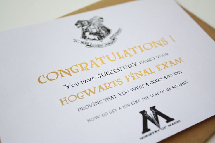 Graduation card Harry Potter Card Hogwarts - Congratulations on your graduation de la boutique MySweetPaperCard sur Etsy