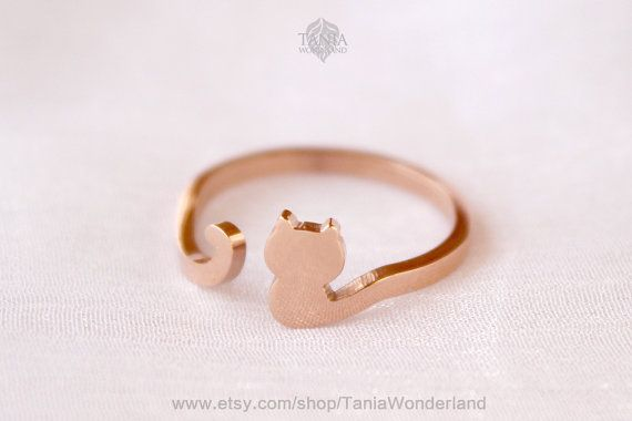Cute Cat ring, Kitty ring, Cat ring,Couple Ring,Rose Gold Stainless steel ring,Creative jewelry gift, Rose gold ring,
