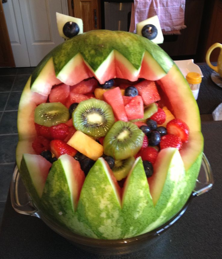 This cute watermelon Monster was made by Grampa for our Grandson's First Birthday party celebration.  Monster's Inc. was the theme!