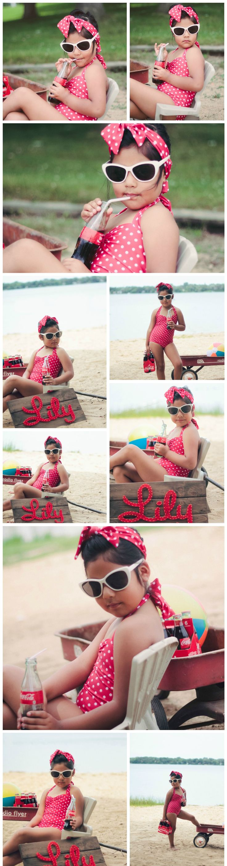 Model: Lillian Rojas  Vintage, Beach Birthday Party, Outfit, Lily Rojas, String Art, Child Model, Coca Cola, Kids Photography, Estephanie V Photography, Classic, Flyer Rider