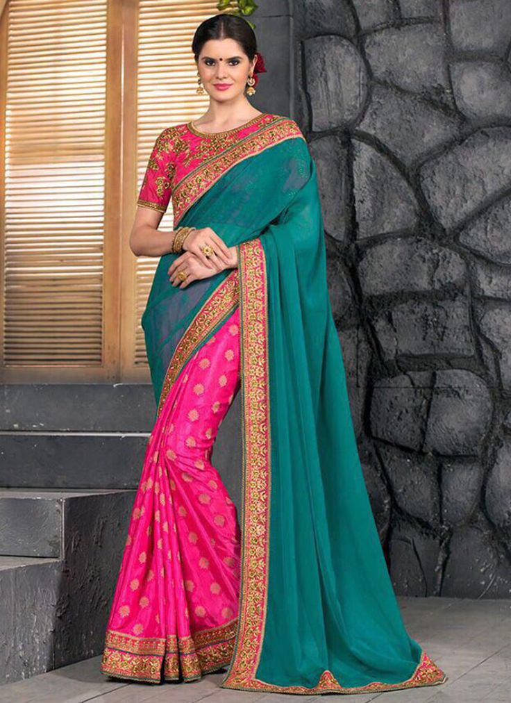 TEAL GREEN N PINK EMBROIDERED PARTY WEAR SAREE