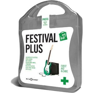 The MyKit Festival includes Condoms x 2, Refreshing Wipes x 2, Washproof Plasters x 12, Blister Plasters x 1, Aloe Vera x 1, Wash Swabs x 4,...