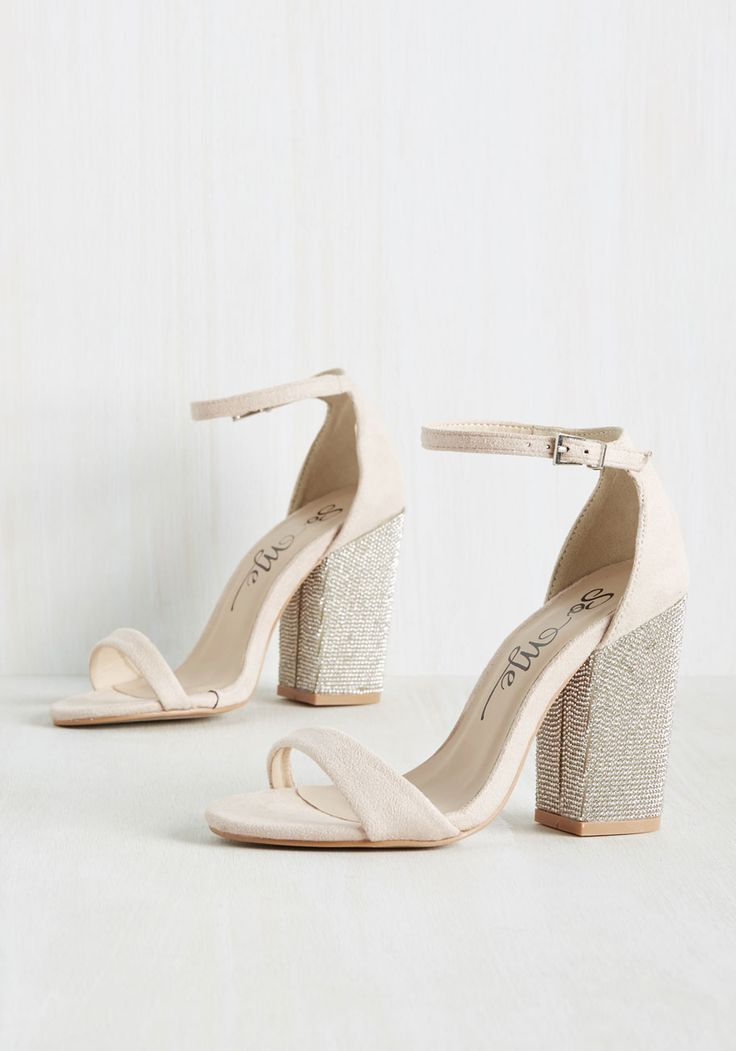 Jewel Be Back Block Heel in Rosewater. How could one walk away from this pair of blush heels? #blush #wedding #modcloth