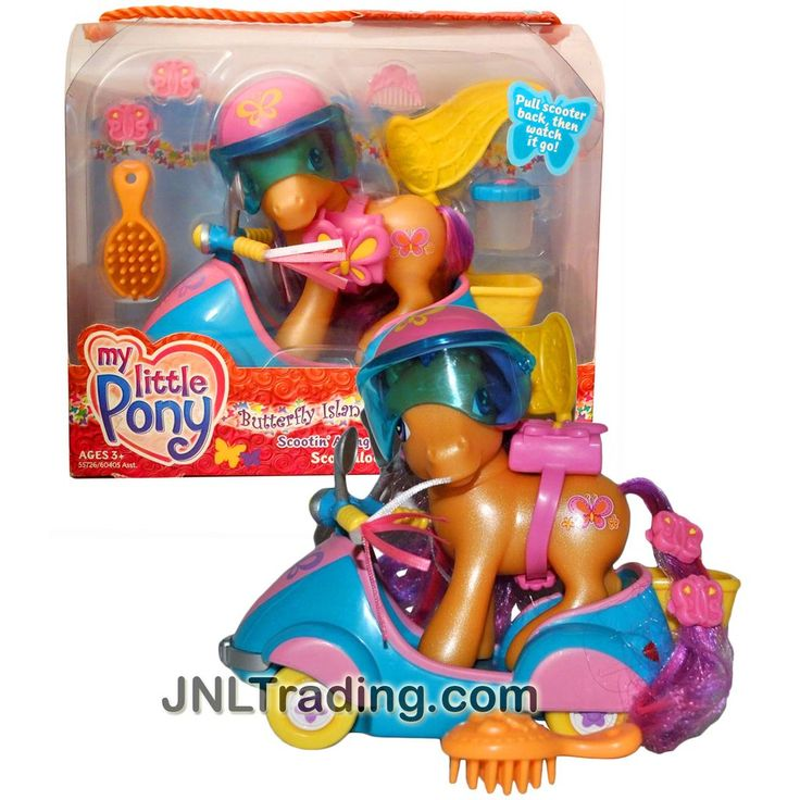 Hasbro Year 2004 My Little Pony Butterfly Island Series 4 Inch Tall Figure - SCOOTIN' ALONG with SCOOTALOO Plus Helmet, Water Container, Hairpin and Hairbrush