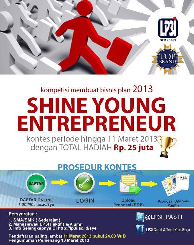 Shining Young Enterpreneur Contest  Kompetisi bisnis plan untuk calon-calon wirausaha muda Indonesia.