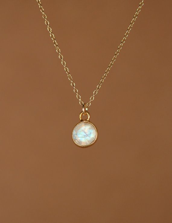 18ich chain. 6 mm size tiny. Moonstone necklace gold moonstone june birthstone by BubuRuby
