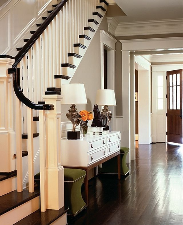 such a pretty staircaseDecor, Wall Colors, Consoles Tables, Dark Wood Floors, Newport Beach, Entrance Hall, Atlanta Home, Homes, Console Tables