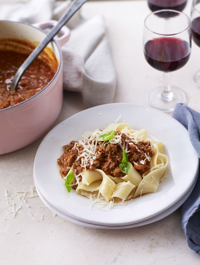 Controversial! Change up your bolognese with wide pappardelle noodles.