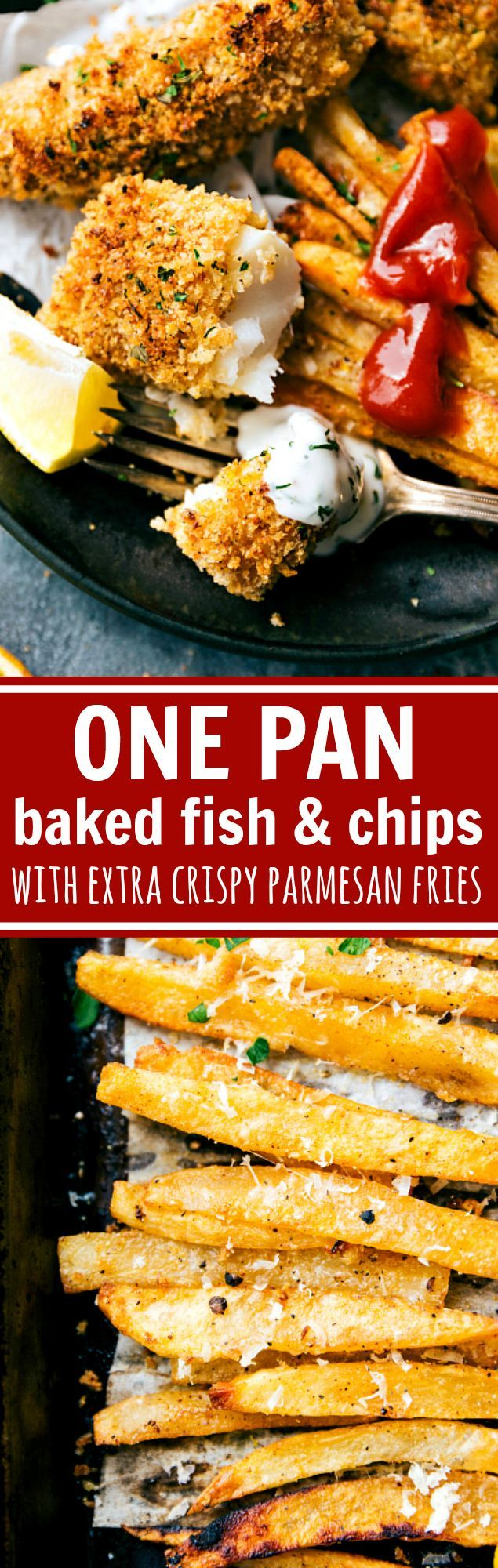 A quick and delicious take on fish and chips -- all baked on just ONE pan. This version is healthier because it isn't baked, but it certainly isn't lacking on flavor! The fries are ultra crispy and flavorful, the fish has a secret hack to make it seem fried, and all prep is done in under 30 minutes. Plus a quick homemade tartar sauce (optional to make) that takes no more than 5 minutes to assemble. Recipe via chelseasmessyapron.com
