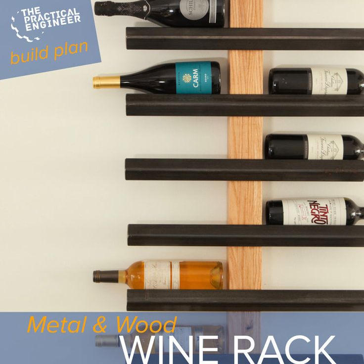 DIY Woodworking Ideas How to make a metal and wood modern industrial style wine rack