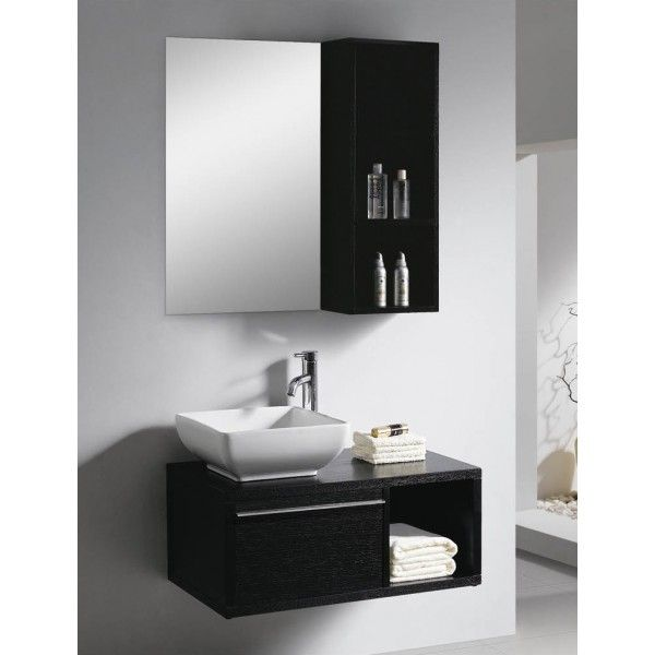Moderna With Drawer and Vessel Sink | Best Value Bathroom Furniture in Ireland.  Contemporary wall hung vanity unit with vessel sink, soft close drawers and shelves.  Perfect for a medium to large sized bathroom.      Measurements  Description:  Dimension (MM): Main Cabinet800*480*500 Mirror500*20*800 Side Cabinet300*200*800