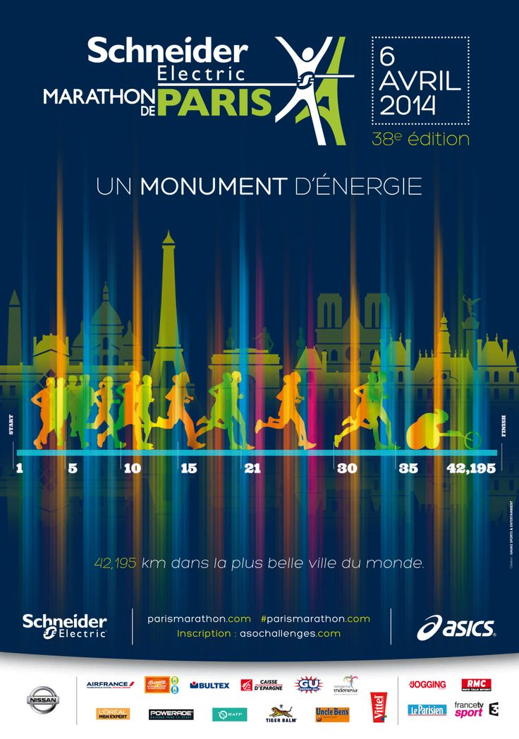 AD/CIMO MARATHON PARIS POSTER EVENT INTERNATIONAL RUN ENERGY  OFFICIAL PARIS'S MARARHON POSTER