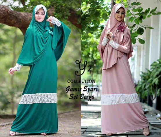 Bagi para muslimah tentunya membutuhkan model baju muslimah syar'i produk terbaru dari kami baju gamis syar'i set bergo maxi kombinasi broka...