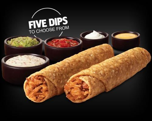 Rolled Chicken Tacos are Back at Taco Bell | Rolled Chicken Tacos are crispy tacos rolled up with marinated all-white-meat shredded chicken and come with a choice of 5 dipping sauces:  Spicy Ranch, Nacho Cheese, Premium Guacamole, Salsa and Reduced-Fat Sour Cream.