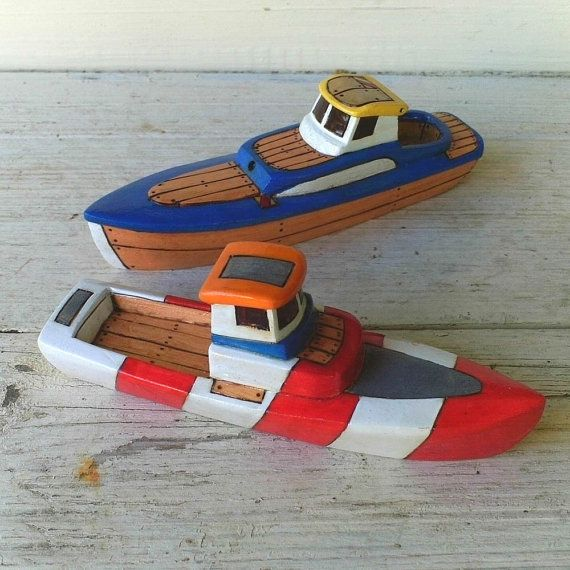 Red, White And Blue Toy Wooden Boats