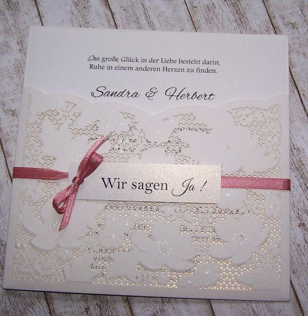 Einladung Hochzeit Vintage / Spitze mit Satinband und Anhänger viele ...