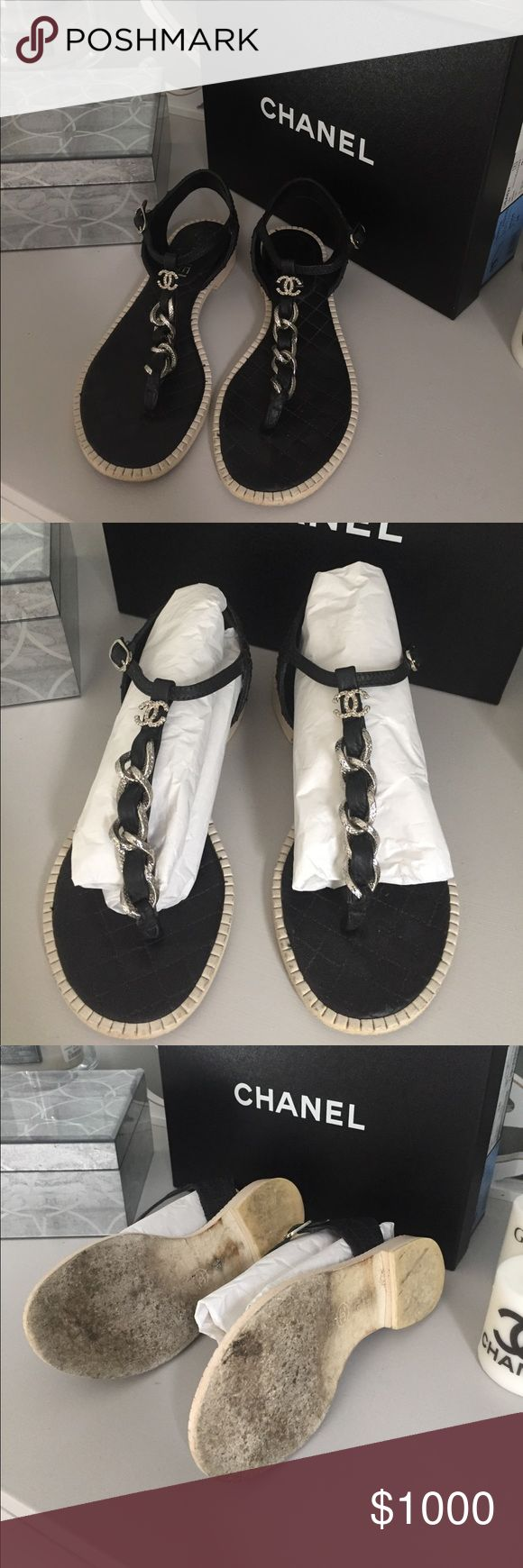 Authentic Chanel black thong chain CC sandals 36 In excellent used condition. Never to be sold in stores again. 2015P calfskin leather. Silver chain hardware and CC. Buckle closure. Bottoms are originally all white so of course they will look this way even after worn 1x. Size 36. KNOW YOUR CHANEL SIZE! comes with everything. Box and dust bags. All original. Not budging on the price. Please don't ask to trade either. I DO NOT TRADE! CHANEL Shoes