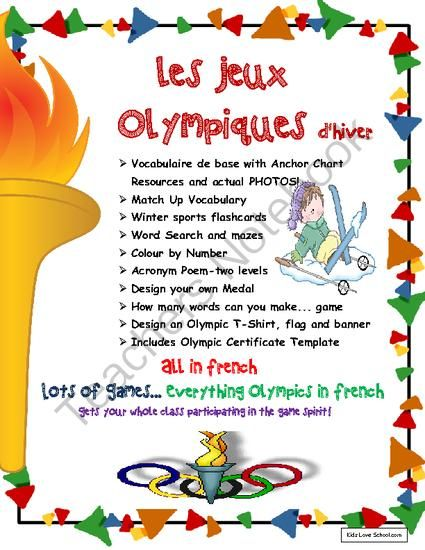 Winter Olympic Games-Jeux Olympiques in FRENCH! from Kids Love School on TeachersNotebook.com - (33 pages) - Olympic Themed Games-Les Jeux Olympiques d'Hiver -LOTS of activities in French! Great for FSL Core and French Immersion. Lots of activities, flashcards, handouts, colour by number, matching activities, design your own Olympic medal, t-shirt and/ban