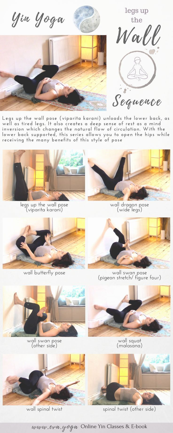 Yin Yoga Practice at the Wall! Grounding & restoring practice to stretch connective tissue & release stress. Class Theme & Sequence Yin Yoga sequences & inspiration for teachers & students! Online classes & ebook available now: https://www.eva.yoga/writing-resources https://app.namastream.com/#/evayoga/product/1983/recordings www.eva.yoga #yogasequences