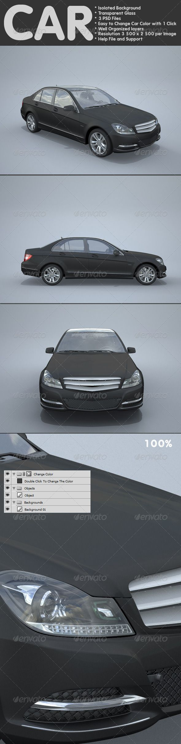 Car  #GraphicRiver         Car  	 	 Isolated Background  		 Transparent Glass 		 3 psd files 		 easy to change car color with 1 click 		 well organized layers 		 resolution 3500×2500 per image 		 help file and support 	  	                             Created: 13October12 GraphicsFilesIncluded: PhotoshopPSD #JPGImage HighResolution: No Layered: Yes MinimumAdobeCSVersion: CS PixelDimensions: 3500x2500 Tags: auto #automobile #car #cars #changecolors #changeablecolors #chrome #gloss #gray…