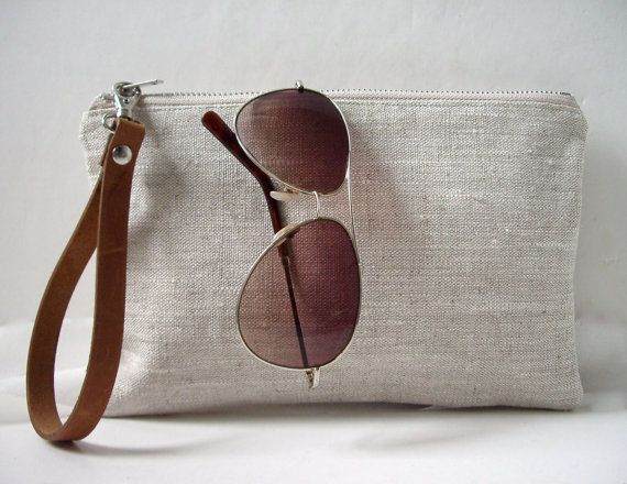 Wristlet, Simple Clutch Bag, Linen Clutch, Neutral, Natural Linen and Leather Bag for Women, Simple Purse, Handbag, Summer Clutch