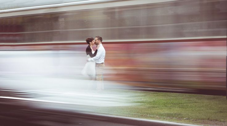 Budapest engagement session #tram #moving #kiss