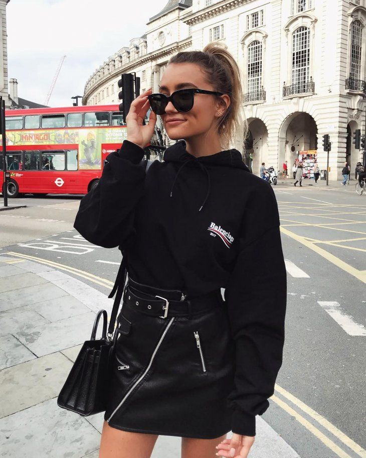black on black | sweatshirt + leather skirt + bag