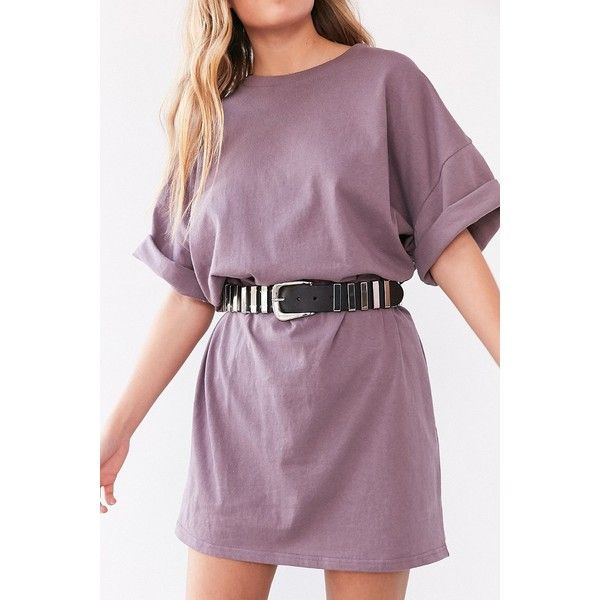 Silence + Noise Buster Cocoon T-Shirt Dress (135 CNY) ❤ liked on Polyvore featuring dresses, short sleeve dress, short sleeve t-shirt dress, purple dresses, oversized t-shirt dresses and short sleeve t shirt dress