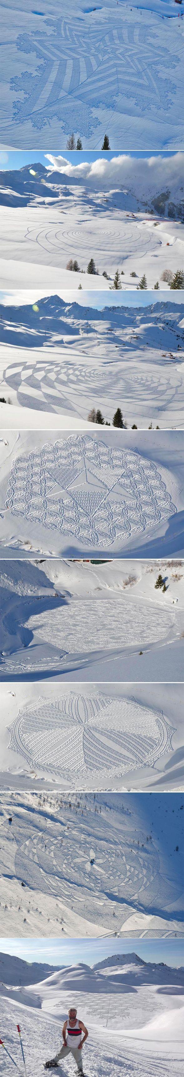 La neige ne va pas tarder, et les artistes s'en donnent à coeur joie. | Simon Beck - Dessin sur la neige