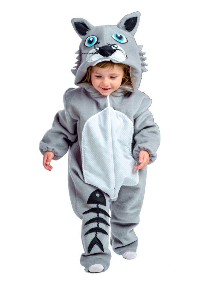Disfraz gato gris bebé-Premium: Este disfraz de gatito para bebé incluye un traje con capucha.Es de color gris con mangas elásticas. El vientre es de color gris claro. Se cierra por delante con cremallera. Lleva una...