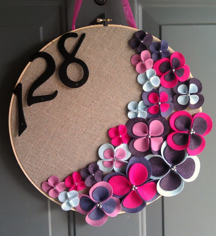 Linen Hoop Felt Handmade Door Decoration - Grape Jelly 14in. (love the idea of an embroidery hoop on the door!)