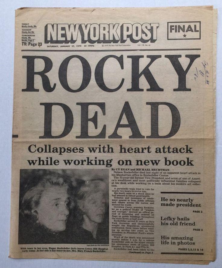 1-27-1979 NEW YORK POST NEWSPAPER NELSON ROCKEFELLER  DEAD AT 70