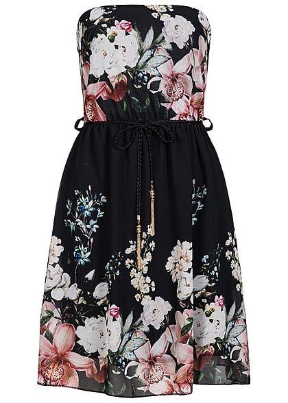 Styleboom Fashion Damen Mini Bandeau Kleid Blumen Muster Kordel Accessoires schwarz