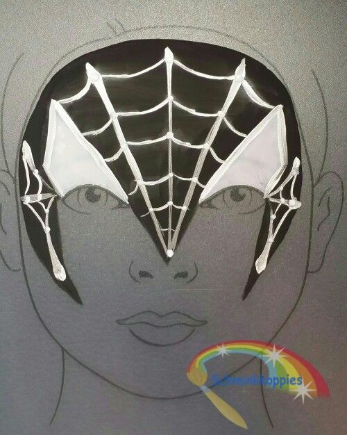 Black Spiderman painted by Schminkkoppies. Facepaint Www.schminkkoppies.nl